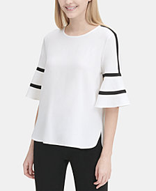 Calvin Klein Piped-Trim Flare-Sleeve Top