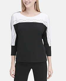 Calvin Klein Embellished Colorblocked 3/4-Sleeve Top