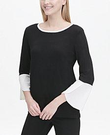 Calvin Klein Colorblocked Tulip-Sleeve Sweater
