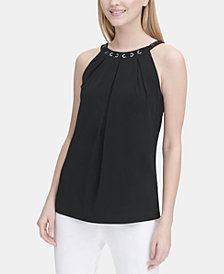 Calvin Klein Grommet-Trim Sleeveless Halter Top