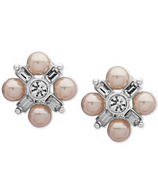 Anne Klein Silver-Tone Crystal & Imitation Pearl Cluster E-Z Comfort Clip-On Button Earrings