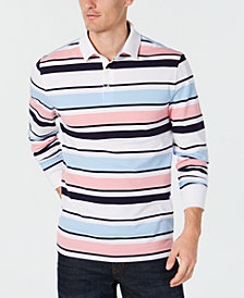 Club Room Men's Stripe Rugby Long-Sleeve Polo, Created for Macy's