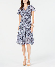 MICHAEL Michael Kors Printed Ruffled Wrap Dress