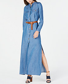 MICHAEL Michael Kors Denim Maxi Shirtdress