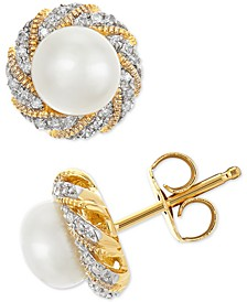 Cultured Freshwater Pearl (6mm) & Diamond Accent Earrings in 14k Gold