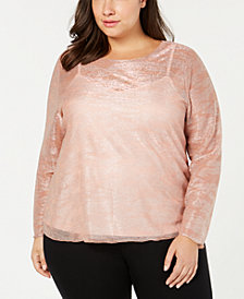 I.N.C. Plus Size Long-Sleeve Shiny Top, Created for Macy's