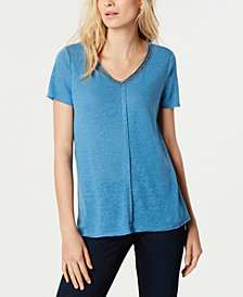 I.N.C. Short-Sleeve Embellished V-Neck Top, Created for Macy's