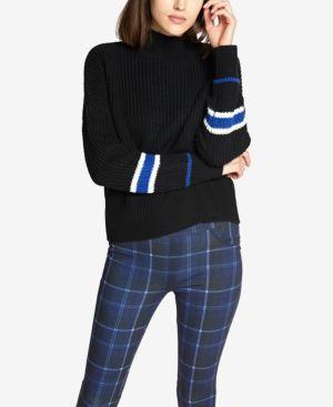 SANCTUARY Speedway Stripe Sleeve Sweater in Black
