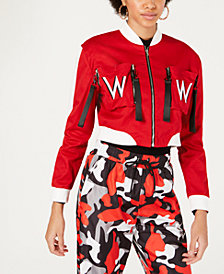 Waisted Zipper-Detail Cropped Bomber Jacket