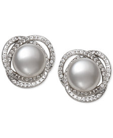 Cultured Freshwater Pearl (9mm) & Cubic Zirconia Spiral Stud Earrings in Sterling Silver