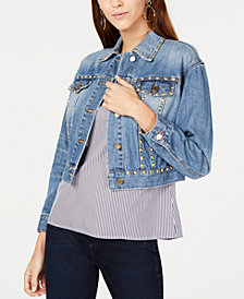MICHAEL Michael Kors Cotton Studded Denim Jacket