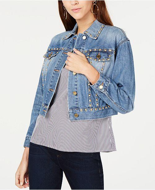 e8bb019414 Michael Kors Cotton Studded Denim Jacket   Reviews - Jackets ...