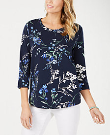 Karen Scott Petite Twirling Petals Sweatshirt, Created for Macy's