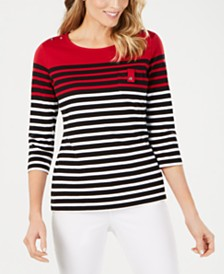 Karen Scott Yazmin Striped Top, Created for Macy's