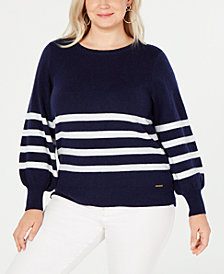 MICHAEL Michael Kors Plus Size Striped Balloon-Sleeve Sweater