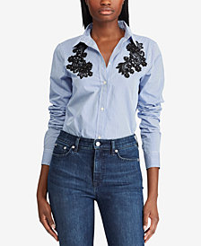 Lauren Ralph Lauren Petite Lace-Patch Cotton Shirt
