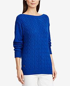 Lauren Ralph Lauren Striped Cable-Knit Cotton Sweater