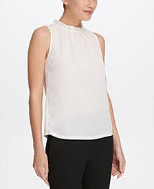 DKNY Ruffle-Collar Sleeveless Blouse, Created for Macy's
