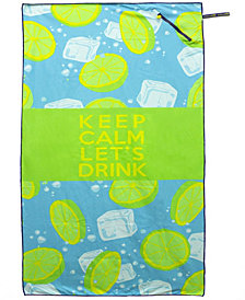 Premium Beach Towel with Zipper Pocket Super Absorbent Soft Lightweight Compact Eco-friendly Anti-bacterial Travel Accessory Keep Calm Let's Drink Green By MinxNY