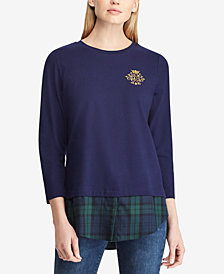 Lauren Ralph Lauren Petite Crest Layered-Look Cotton Top