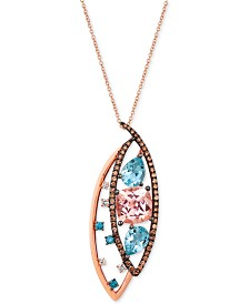 Le Vian Crazy Collection® Multi-Gemstone (4-1/6 ct. t.w.) & Diamond (5/8 ct. t.w.) Pendant Necklace in 14k Rose Gold