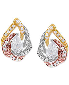 Cubic Zircoina Tricolor Teardrop Stud Earrings in Sterling Silver & Gold- and Rose-Gold Plate