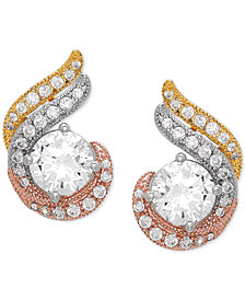 Cubic Zirconia Tricolor Swirl Stud Earrings in Sterling Silver & Gold- and Rose Gold-Plate
