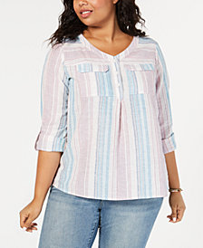 Style & Co Plus Size Striped Linen-Cotton Shirt, Created for Macy's