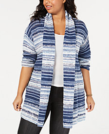 Style & Co Plus Size Textured-Stripe Cardigan Sweater, Created for Macy's
