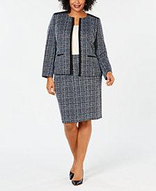 Kasper Plus Size Jacquard Blazer & Skirt