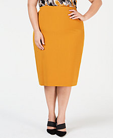 Kasper Plus Size Midi Pencil Skirt