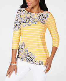 Charter Club Mixed-Print Top, Created for Macy's