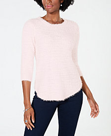 John Paul Richard Petite Popcorn-Texture Eyelash Sweater