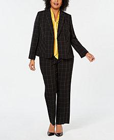 Kasper Plus Size Printed Blazer, Bow-Tie Top & Printed Pants