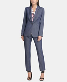 DKNY Denim Blazer, Ruched Top & Denim Pants