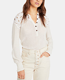 Free People Cotton Embroidered Henley Top