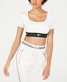 Waisted Elastic-Band Logo Crop Top