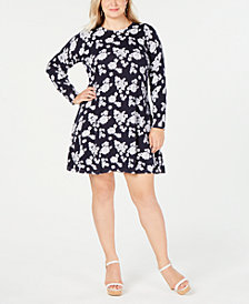 MICHAEL Michael Kors Plus Size Printed Long-Sleeve Sweater Dress