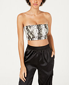 Waisted Snake-Print Crop Top