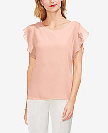 Vince Camuto Ruffle Sleeve Lurex Stripe Top