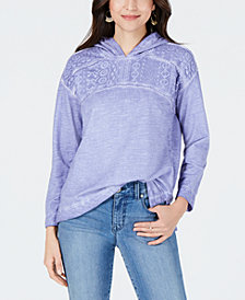 Style & Co Petite Lace-Yoke Hoodie Top, Created for Macy's