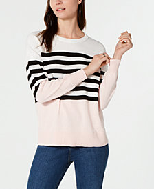 Tommy Hilfiger Cotton Center-Stripe Sweater, Created for Macy's