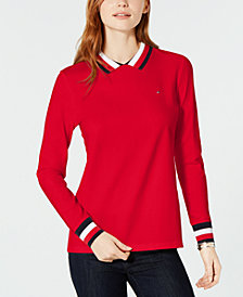 Tommy Hilfiger Flag Long-Sleeve Polo Top, Created for Macy's