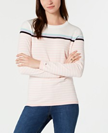 Tommy Hilfiger Cotton Striped Crewneck Sweater, Created for Macy's
