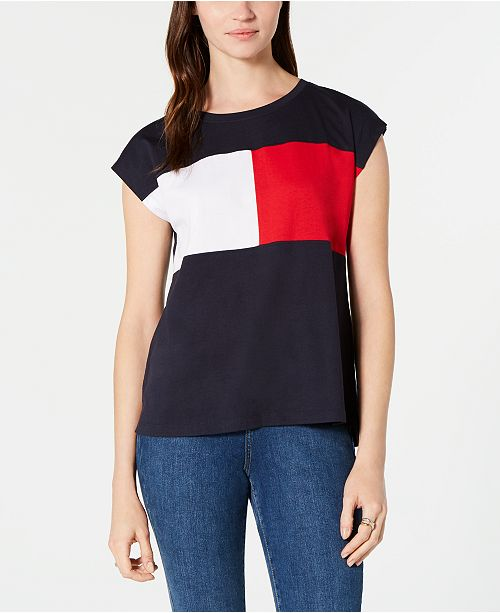 bba907b1a ... Tommy Hilfiger Colorblock Cap-Sleeve T-Shirt, Created for Macy's ...