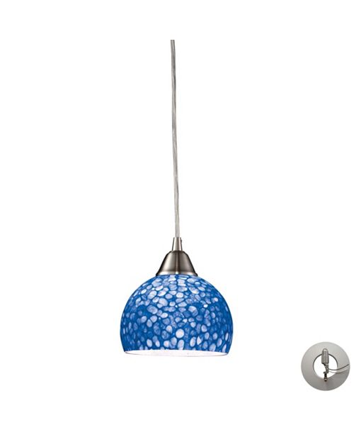 ELK Lighting Cira 1 Light Pendant in Satin Nickel with Pebbled Blue Glass - Includes Adapter Kit