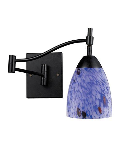 ELK Lighting D Celina 1-Light Swingarm Sconce in Dark Rust with Starburst Blue Glass