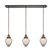 Bartram 3 Light Pendant in Oil Rubbed Bronze and Antique Brass
