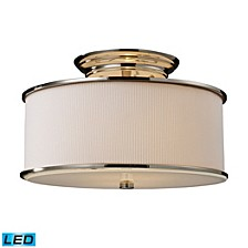 Lureau 2-Light Semi-Flush in Polished Nickel - LED, 800 Lumens (1600 Lumens Total) with Full Scale Dimming Range