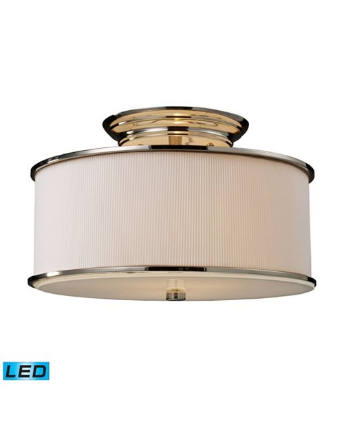 ELK Lighting Lureau 2-Light Semi-Flush in Polished Nickel - LED, 800 Lumens (1600 Lumens Total) with Full Scale Dimming Range
